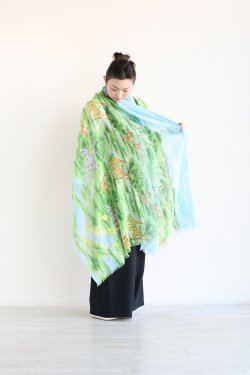 MUVEIL(ミュベール) アニマルプリントスカーフ  green