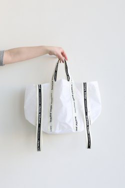 beautiful people(ビューティフルピープル) sail cloth logo tape shift bag S  white