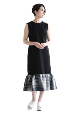 BORDERS at BALCONY(ボーダーズアットバルコニー)  I-LINE DRESS BLACK