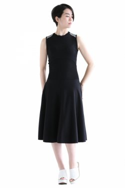 BORDERS at BALCONY(ボーダーズアットバルコニー) SCALLOP KNIT DRESS   BLACK