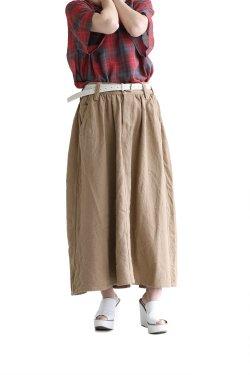 unfil(アンフィル) cotton&linen-tweed gathered skirt  solid-khaki