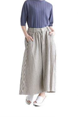 unfil(アンフィル) cotton&linen-tweed gathered skirt  hickory stripe