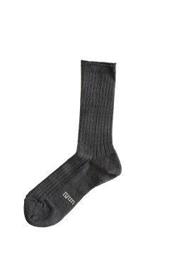 unfil(アンフィル) french linen thin socks  carbon
