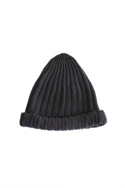 unfil(アンフィル) high twist cotton ribbed-knit beanie ebony