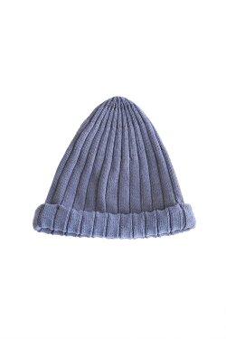 unfil(アンフィル) high twist cotton ribbed-knit beanie smoke blue