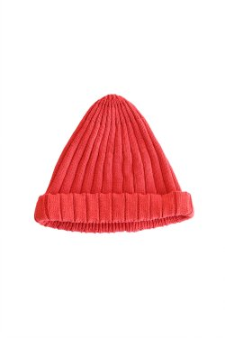 unfil(アンフィル) high twist cotton ribbed-knit beanie  red