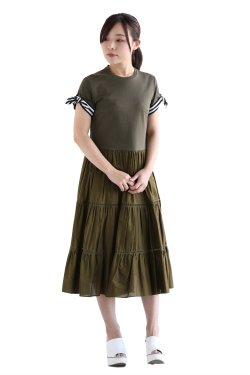BORDERS at BALCONY(ボーダーズアットバルコニー) BALLERINA TEE DRESS  KHAKI