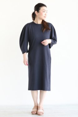 beautiful people(ビューティフルピープル) suvin pima jersey mutton sleeves dress  navy
