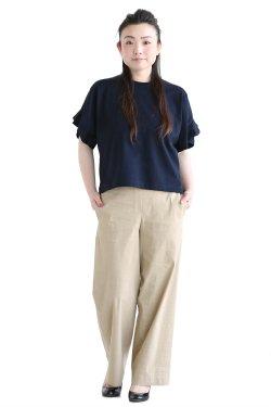 SACRA(サクラ) PETAL SLEEVE クルーネックTシャツ  NAVY