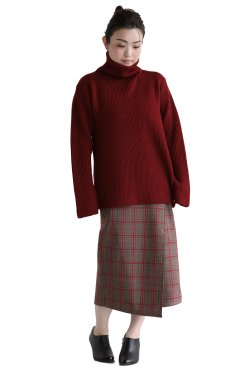 unfil(アンフィル) bluefaced leicester bottle neck sweater  dark red