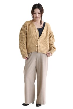 unfil(アンフィル) french merino cable-knit cardigan  wheat