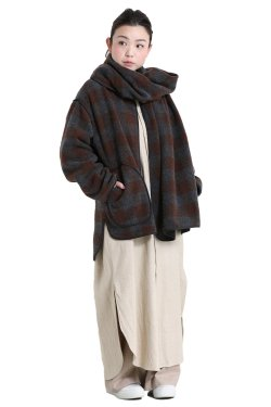 unfil(アンフィル) block checked wool-mossar scarf & jacket