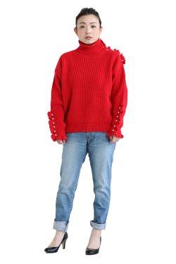 MUVEIL(ミュベール) パール釦ニットプルオーバー  red