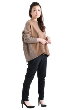 araara(アラアラ) ケーブル裏毛ドッキングプルオーバー  beige