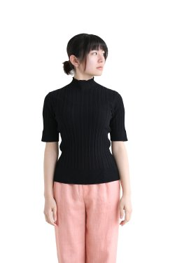 unfil(アンフィル) high twist cotton ribbed-knit sweater  black