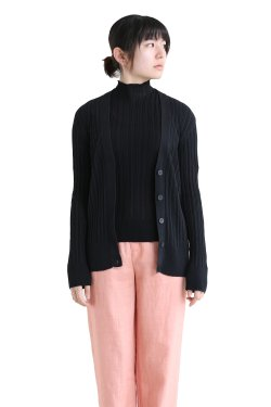 unfil(アンフィル) high twist cotton ribbed-knit cardigan  black