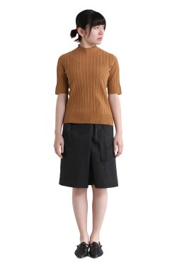unfil(アンフィル) high twist cotton ribbed-knit sweater  caramel brown