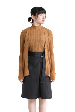 unfil(アンフィル) high twist cotton ribbed-knit cardigan  caramel brown