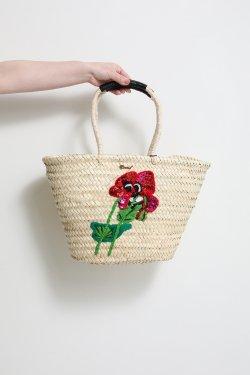 MUVEIL(ミュベール) 花刺繍カゴバッグ