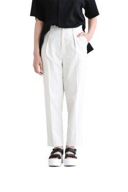 araara(アラアラ) オックスクロップドワイドパンツ white