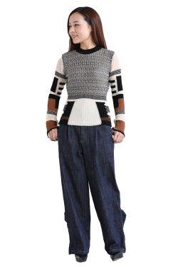 Mame Kurogouchi(マメ) Mixed Knitted Fabric Peplum Pullover