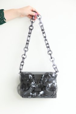 Mame Kurogouchi(マメ) Vinyl Chloride Cloth Chain Bag  BLACK