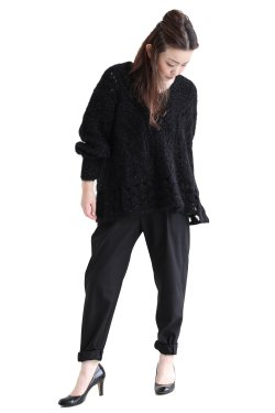 Mame Kurogouchi(マメ) Floral Mohair Knitted Pullover  BLACK