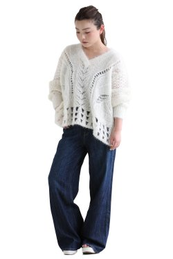 Mame Kurogouchi(マメ) Floral Mohair Knitted Pullover  WHITE