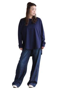 SIWALY(シワリー) round hem pullover  navy