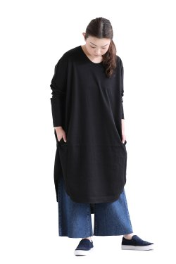 SIWALY(シワリー) round hem tunic  black