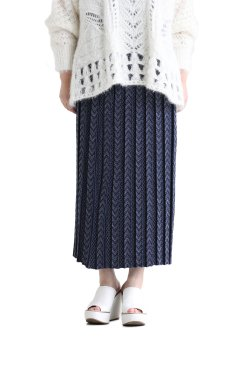 Mame Kurogouchi(マメ) Pleated Knitted Skirt  NAVY