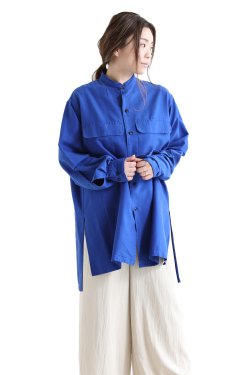 unfil(アンフィル) silk-cotton twill stand collar shirt  royal blue