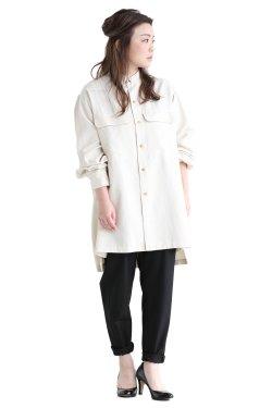 unfil(アンフィル) silk-cotton twill stand collar shirt  ecru