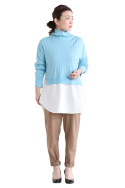 ADAWAS(アダワス) LAYERED RIB KNIT  AQUA