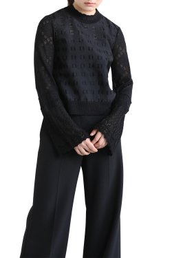 Mame Kurogouchi(マメ) Froral Cut-Jacquard Top With Knitted Sleeves  BLACK