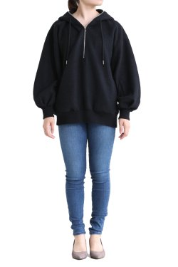 unfil(アンフィル) brushed alpaca-terry half zip hoodie black