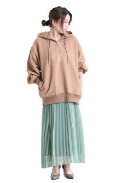 unfil(アンフィル) brushed camel-terry half zip hoodie  camel