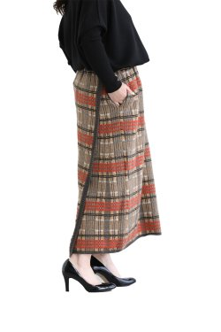 unfil(アンフィル) checked jacquard mohair silk blend knit skirt