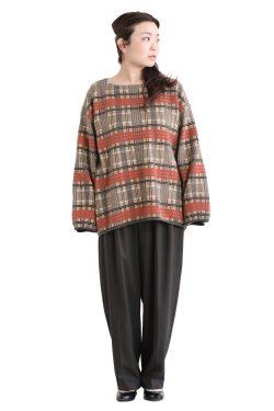 unfil(アンフィル) checked jacquard mohair silk blend sweater