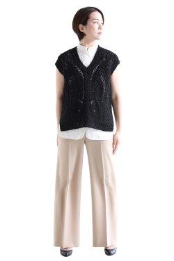 Mame Kurogouchi(マメ) Curtain Lace Pattern Knitted V Neck Vest
