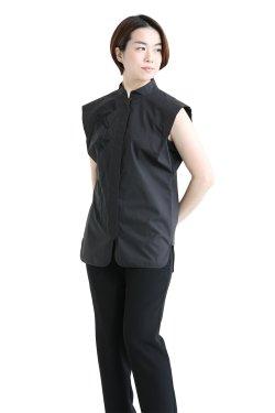 Mame Kurogouchi(マメ) Botanical Embroidery Sleeveless Shirt  BLACK