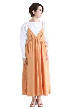 unfil(アンフィル) washed cotton-poplin camisole dress  almondbeige