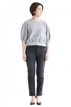 unfil(アンフィル) vintage cotton-pile cropped top  melange gray