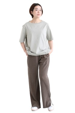 unfil(アンフィル) organic cotton back slit Tee  smokeygreen