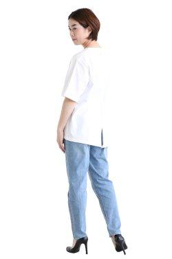 unfil(アンフィル) organic cotton back slit Tee  white