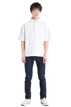 unfil(アンフィル) 【MENS】organic cotton-pique half sleeve polo shirt  stone