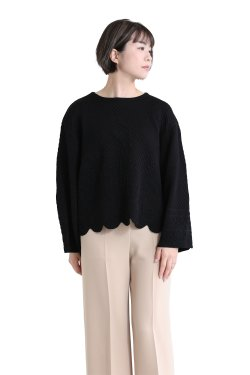 Mame Kurogouchi(マメ) Scallop Cut Knitted Pullover