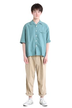 unfil(アンフィル) 【MENS】cotton&silk-twill open collar short sleeve shirt  sagegreen