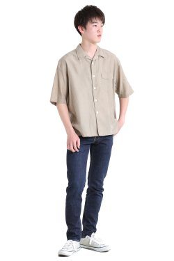 unfil(アンフィル) 【MENS】cotton&silk-twill open collar short sleeve shirt  khaki