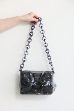 Mame Kurogouchi(マメ) Vinyl Chloride Mini Chain Bag  BLACK
